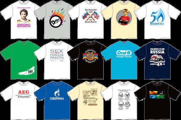 Футболки, печать на футболках логотипов и рисунков на заказ.
