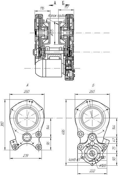Габаритные и присоединительные размеры редуктора РВЦ-320