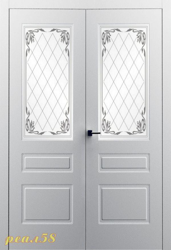 Милан до двухстворчатая, белое матовое с рисунком (стекло кардинал)