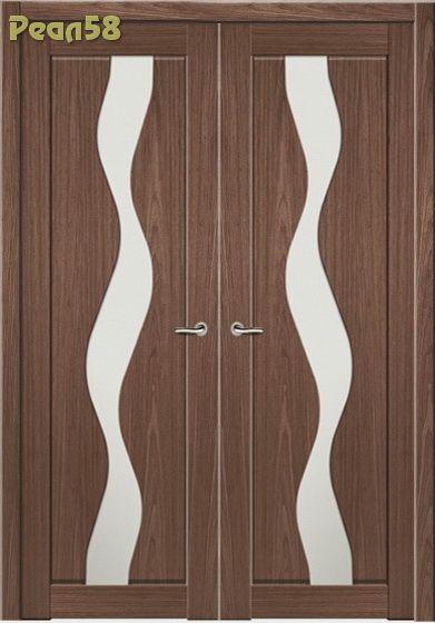 двухстворчатая дверь 60 и 60, МД 205, чёрное стекло + 600руб