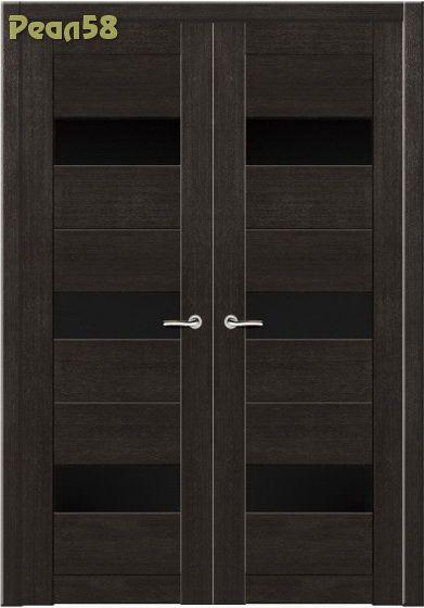 двухстворчатая дверь 60 и 60, МД 103, чёрное стекло + 300руб