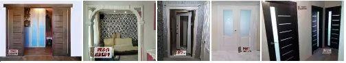 фото установленных арок, межкомнатных дверей, входных дверей.