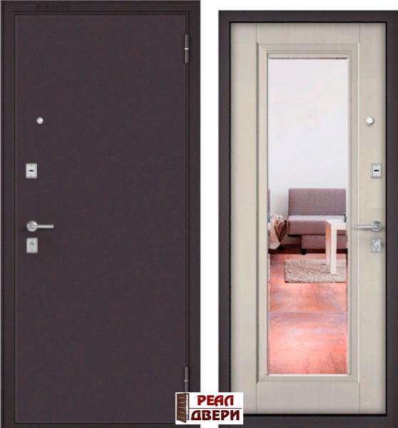 дверь входная Бульдорс мас-70 с зеркалом (13-Т) цвет ларче бьянко