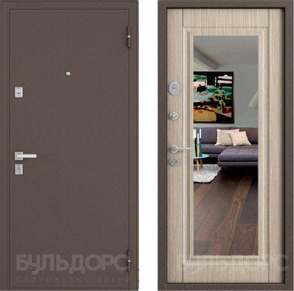 дверь входная Бульдорс 13Т с зеркалом, цвет светлое венге