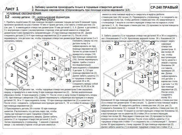 Схема сборки компьютерного стола СР-240.  Нажмите для увеличения.