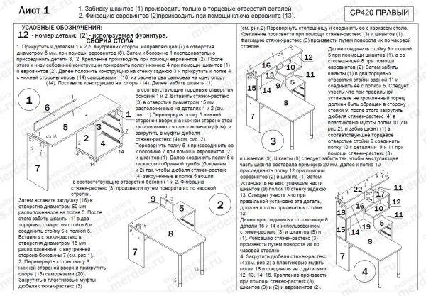 Схема сборки компьютерного стола СР-420.  Нажмите для увеличения.