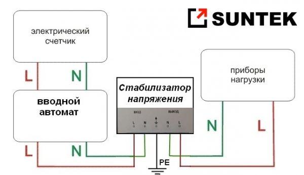Подключение стабилизатора напряжения, схема подключения.