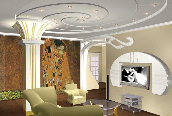 Дизайн натяжных потолков в стиле модерн