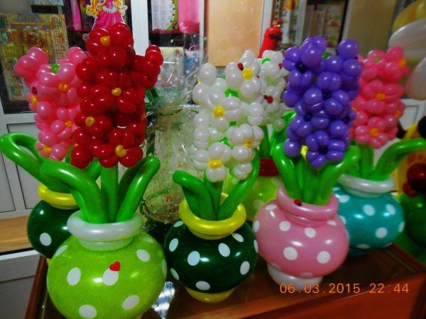 Как сделать цветок из шаров в горшке