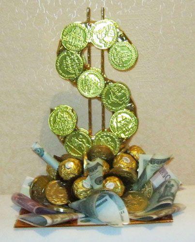 Дерево с конфет и денег своими руками 13