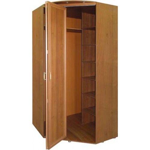 Угловой шкаф для одежды с дверным механизмом гармошка.