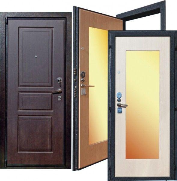 металлические входные двери с зеркалом и установка