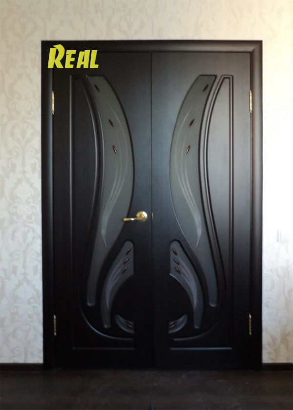 двойные железные двери венге