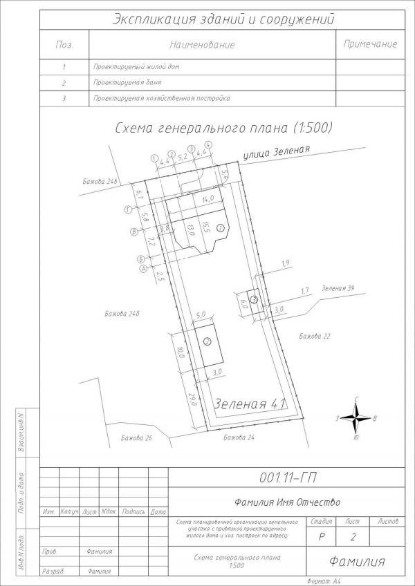 Схема расположения объекта земельном участке 291